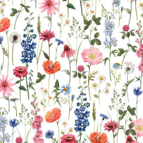 Полевые цветы. Watercolor Flower Pattern