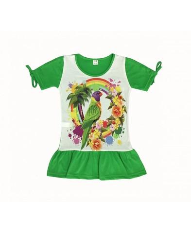 Платье с попугаем детское трикотажное