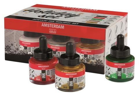 Набор акриловых чернил Amsterdam Holiday Set 6 банок по 30мл в картонной упаковке