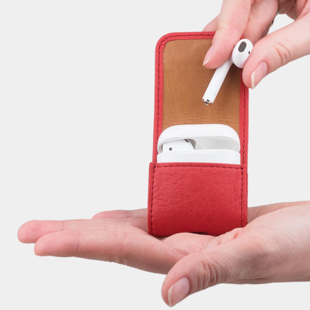 Чехол-держатель для наушников Petit Easy из натуральной кожи теленка, красного цвета