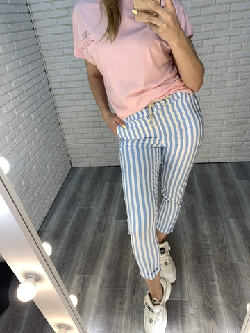 брюки в голубую полоску недорого