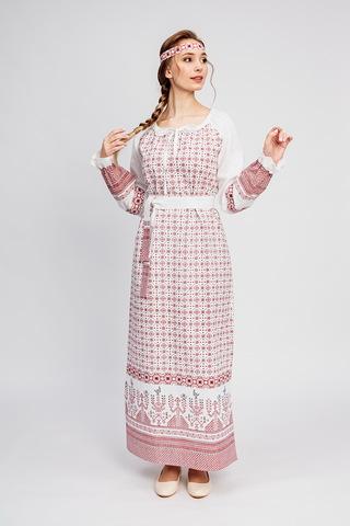 Платье Берегиня на белом льняное