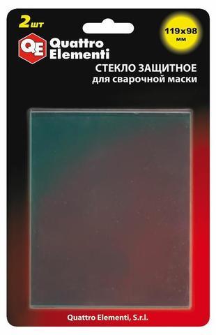 Стекло для сварочной маски QUATTRO ELEMENTI 119 х 98 мм, защитное, поликарбонат, блистер,  (645-570)