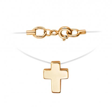 01Л011817- Маленький крестик из золота 585 пробы на леске-невидимке с золотыми замочками