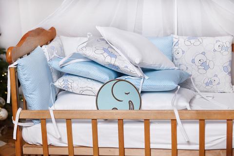 Бортики-защита в кроватку из сатина от комплекта Верона - 2 Голубой мишка