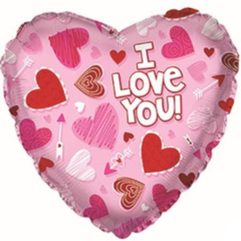 Сердце, Я люблю тебя (сердечки на розовом), 18''/46 см, CTI, 1 шт.