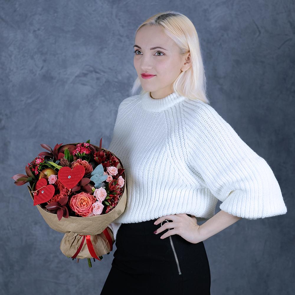 Купить необычный букет для любимой ко Дню Святого Валентина Пермь