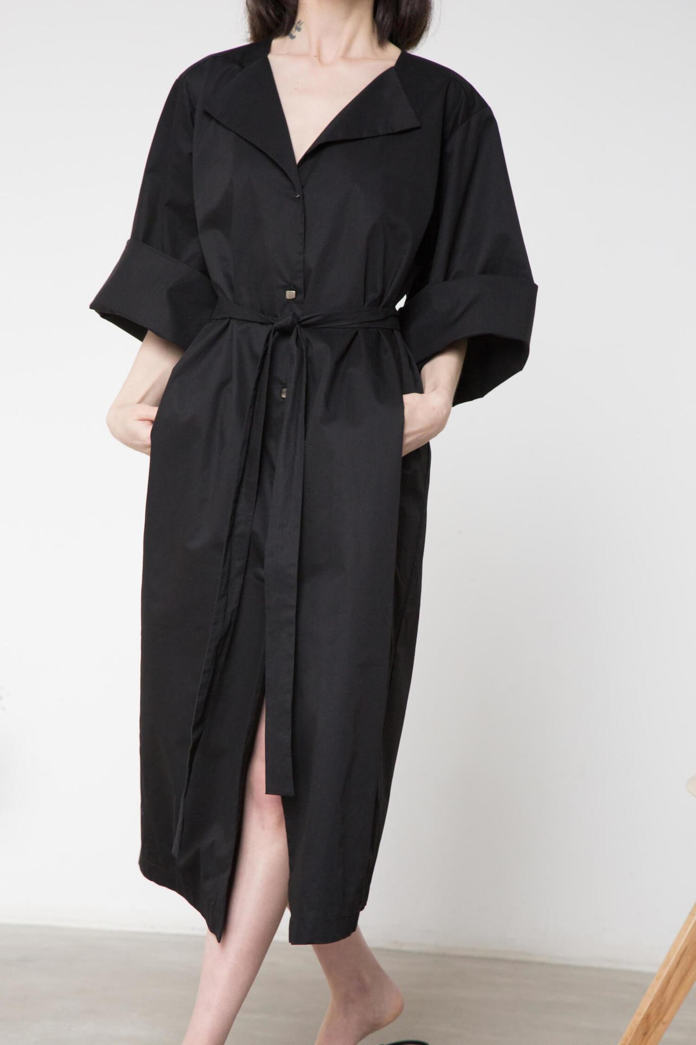 Платье-халат на поясе, цвет: черный