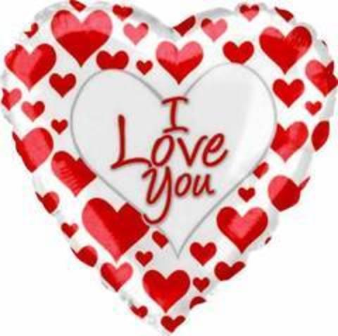 Сердце, Я люблю тебя (простые красные сердечки), белый, 18