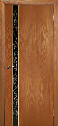 Дверь Дубрава Сибирь Маэстро-Маки, стекло с рисунком/молдинг золото, цвет миланский орех, остекленная