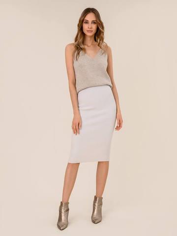 Женская юбка светло-серого цвета из шерсти - фото 2