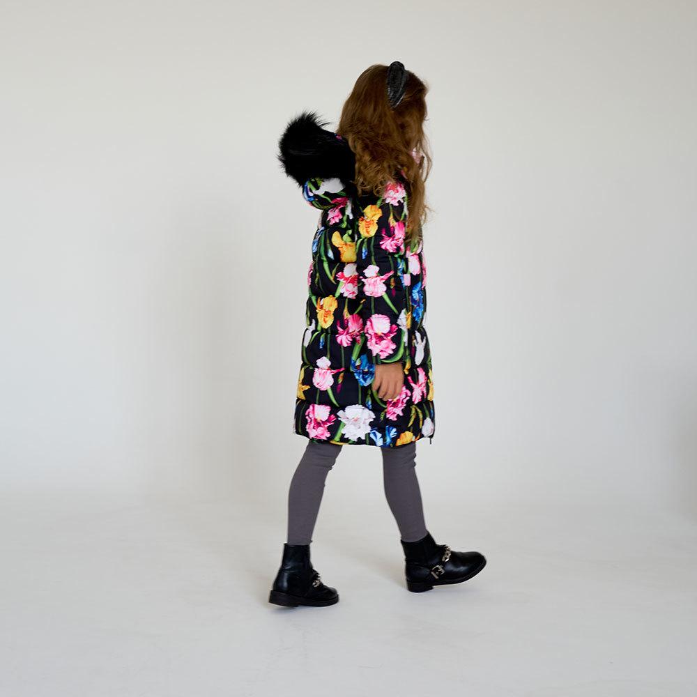 Детское подростковое зимнее пальто с принтом   Ирисы с натуральной опушкой