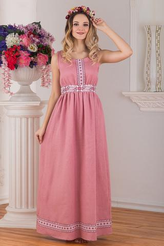 Сарафан традиционный розовый льняной Алатырь от Иванка