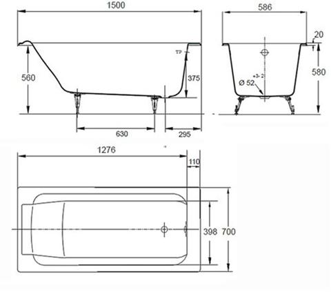 Ванна  чугунная  Jacob Delafon Parallel (150*70) без отверстий для ручек  с ножками Е2946