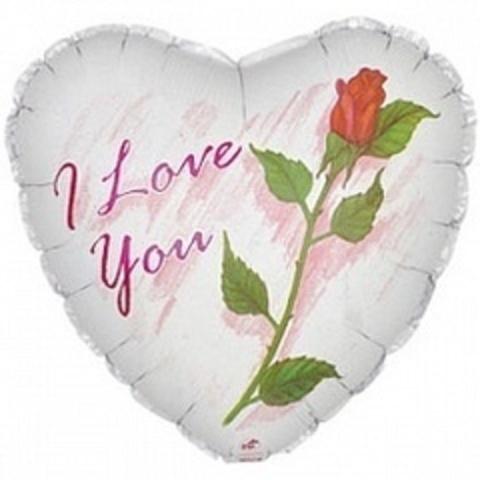 Сердце, Я Люблю тебя (роза) Белый, 18