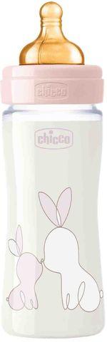 Chicco. Бутылочка Original Touch, стекло, латексная соска, медленный поток, 0+, 240 мл, розовая