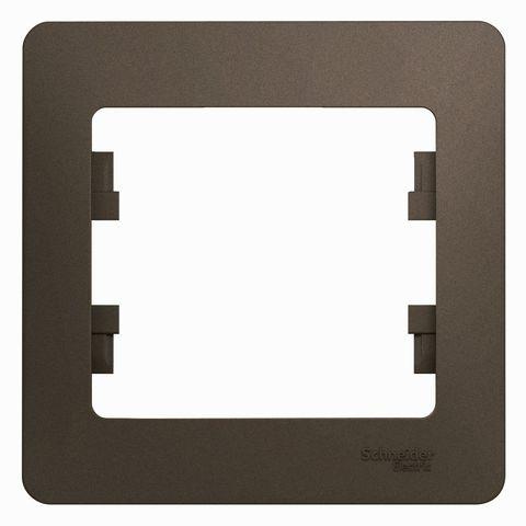 Рамка на 1 пост. Цвет Шоколад. Schneider Electric Glossa. GSL000801