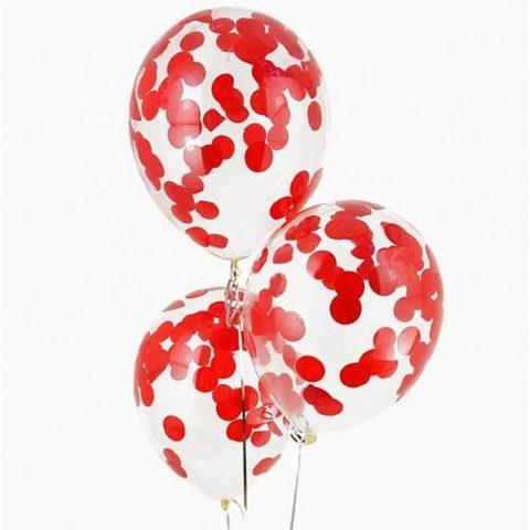Воздушные шары с красным конфетти