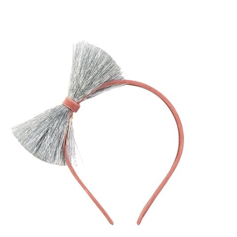 Ободок для волос с бабочкой, серебряный и розовый