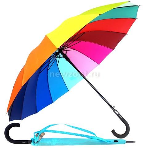 Зонт трость радуга 16 цветный Galaxy полуавтоматический