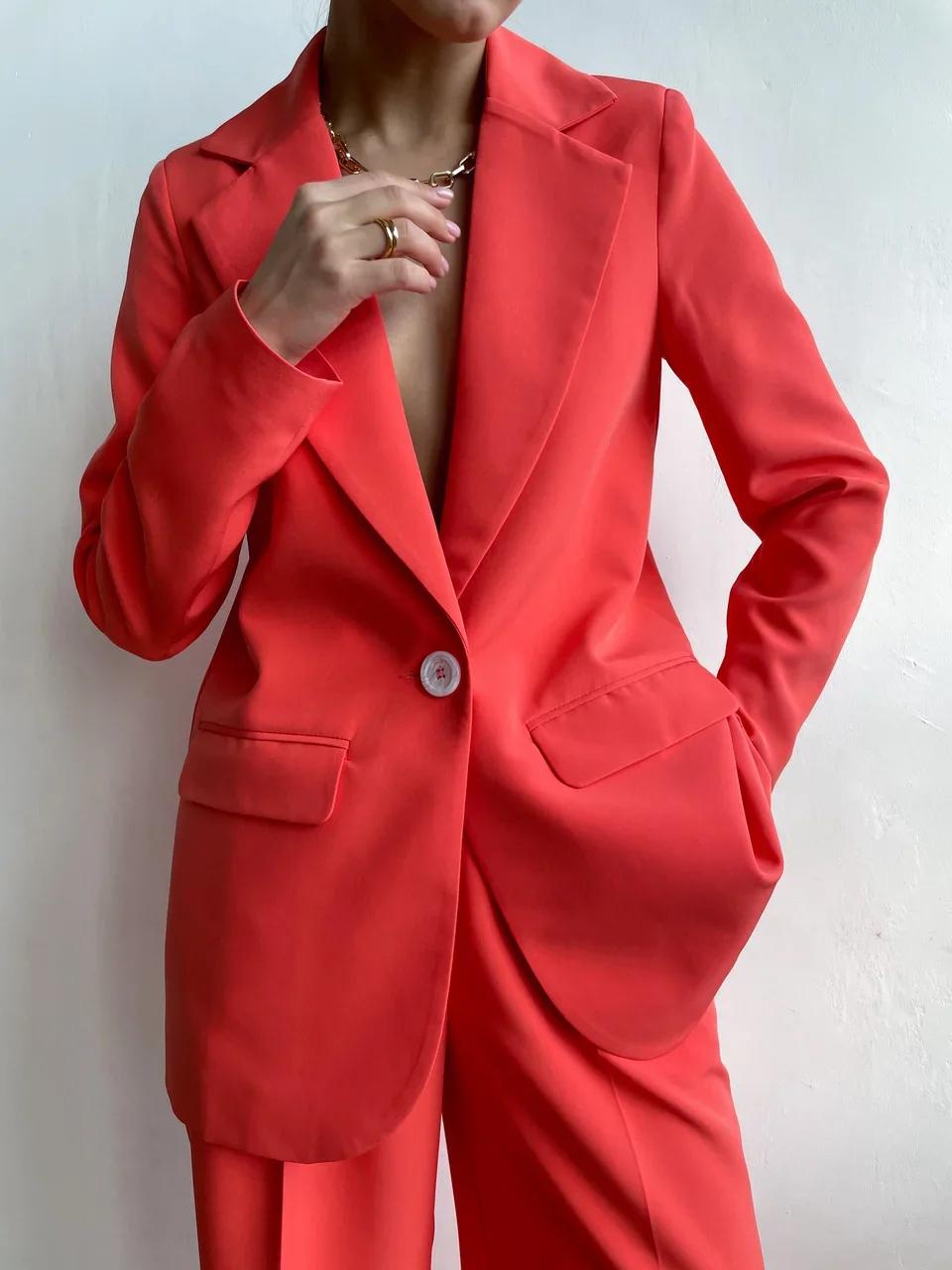 Пиджак прямой со шлицей (коралловый)