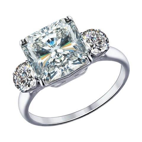 94012077 - Кольцо  из серебра с крупным, квадратным фианитом
