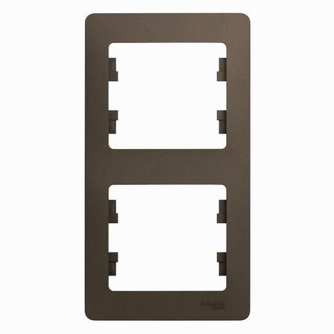 Рамка на 2 поста, вертикальная. Цвет Шоколад. Schneider Electric Glossa. GSL000806