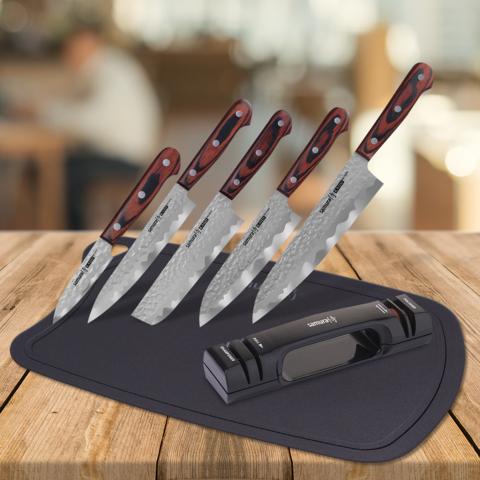 Набор из 5 ножей Samura KAIJU, точилки KSS-2000 и разделочной доски