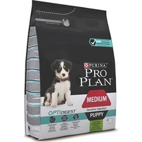 Pro Plan Optidigest сухой корм для щенков средних пород с чувствительным пищеварением с ягненком