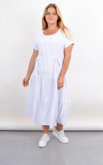 Касіні. Плаття plus size з воланами по низу. Білий.
