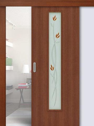 Дверь раздвижная Сибирь Профиль Ветка (С-17ф) фьюзинг, цвет итальянский орех, остекленная