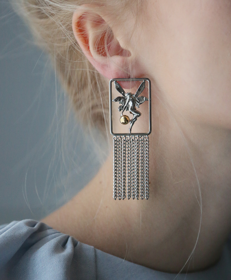 Cерьги Elf with chain