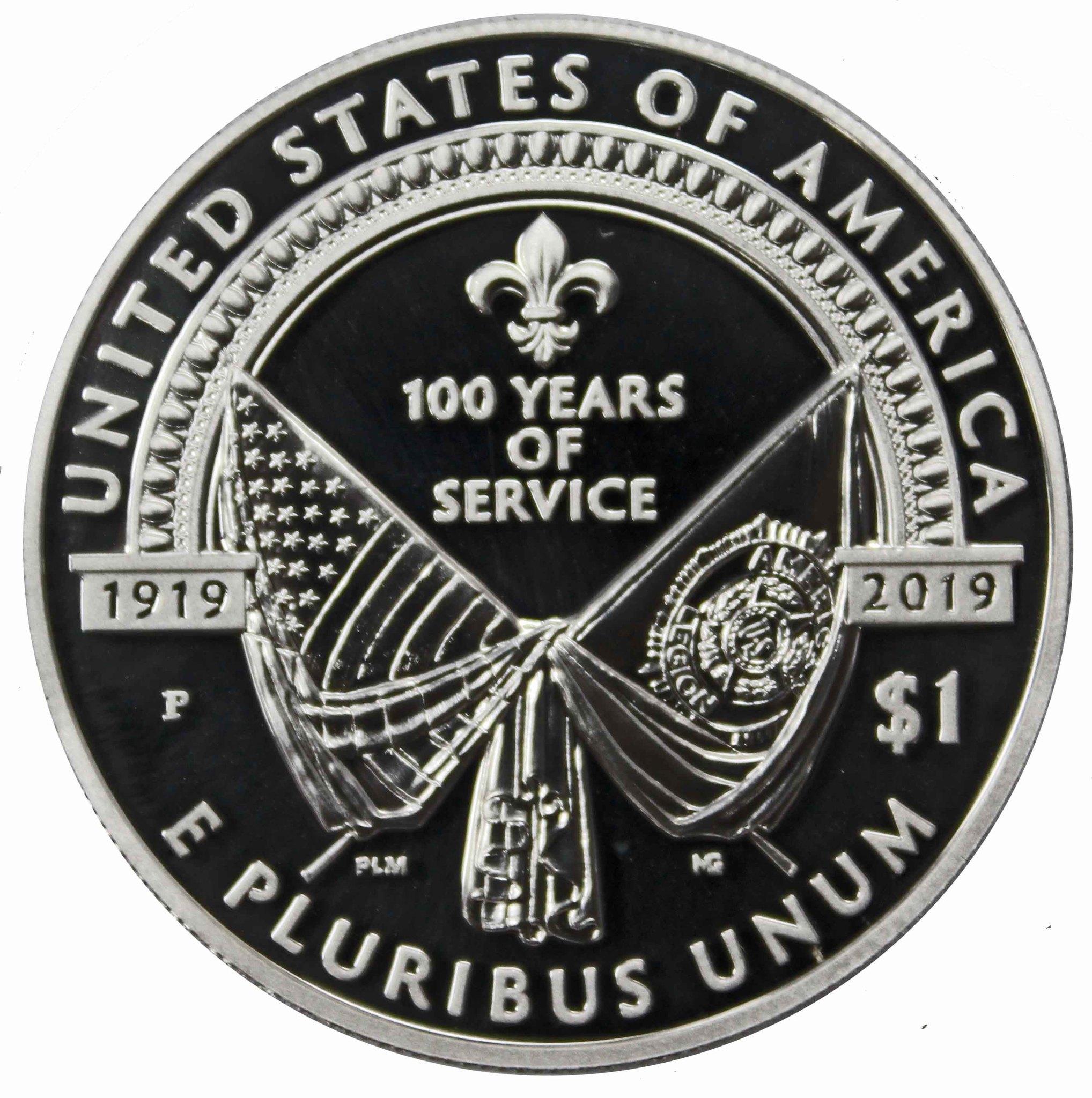 1 доллар. Американский легион. 100 лет со дня основания. США. 2019 г. PROOF