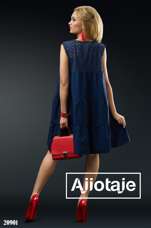 Темно-синее платье свободного силуэта с прошвой