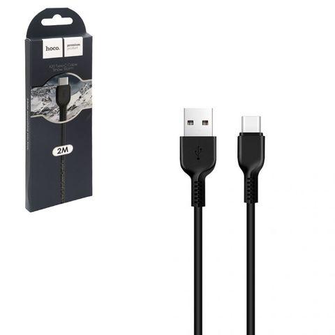 Кабель USB Type-C 2м Hoco черный
