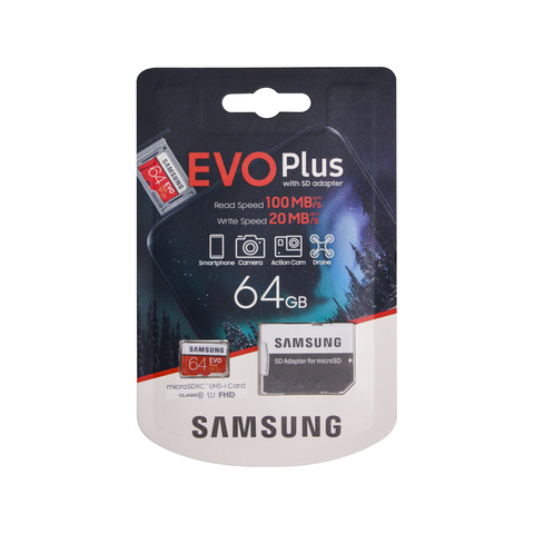 Карта памяти SAMSUNG MicroSDXC UHS-I 64GB Class 10  до 100MB/s + SD adapter