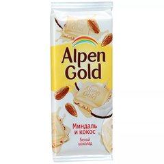 """Шоколад """"Alpen Gold"""" белый миндалем и кокосом 85г"""