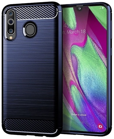 Чехол для Samsung Galaxy A40S (Galaxy M30) цвет Blue (синий), серия Carbon от Caseport