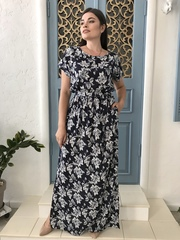 Стелла. Довга сукня великих розмірів. Великі квіти