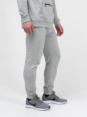 Спортивные штаны  цвета  серый меланж с манжетами, без лампасов