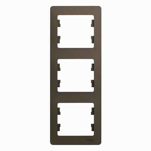 Рамка на 3 поста, вертикальная. Цвет Шоколад. Schneider Electric Glossa. GSL000807