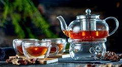 Набор: заварочный чайник Оазис с подогревом от свечи в комплекте с чашками и подставками из бамбука