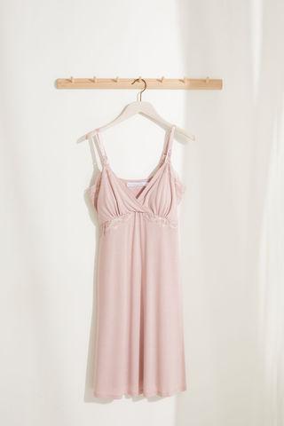 Рожева нічна сорочка Maternity з неймовірно м'якого трикотажу з мереживом