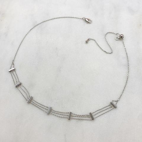 Чокер-цепочка трехрядный (серебристый)