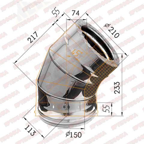 Отвод сендвич 135° d150х210мм (430/0,5мм+оцинк) Ferrum