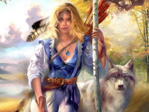 Картина раскраска по номерам 40x50 Девушка с волком
