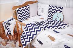 Бортики-защита в кроватку из сатина от комплекта Верона - 2 Мишка+зигзаг