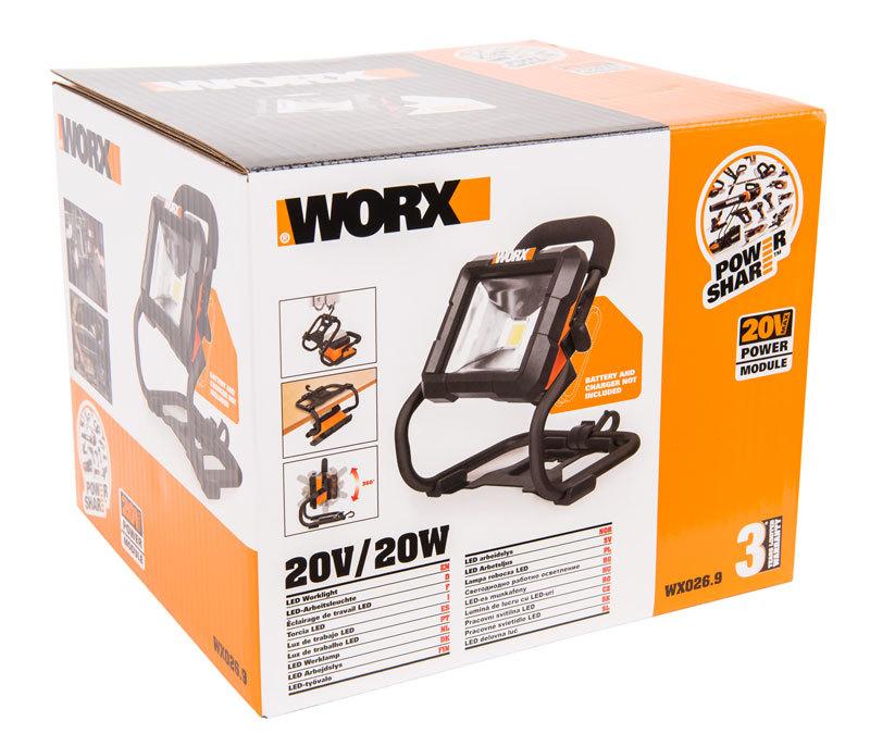 Фонарь аккумуляторный WORX WX026.9, 20В, без АКБ и ЗУ