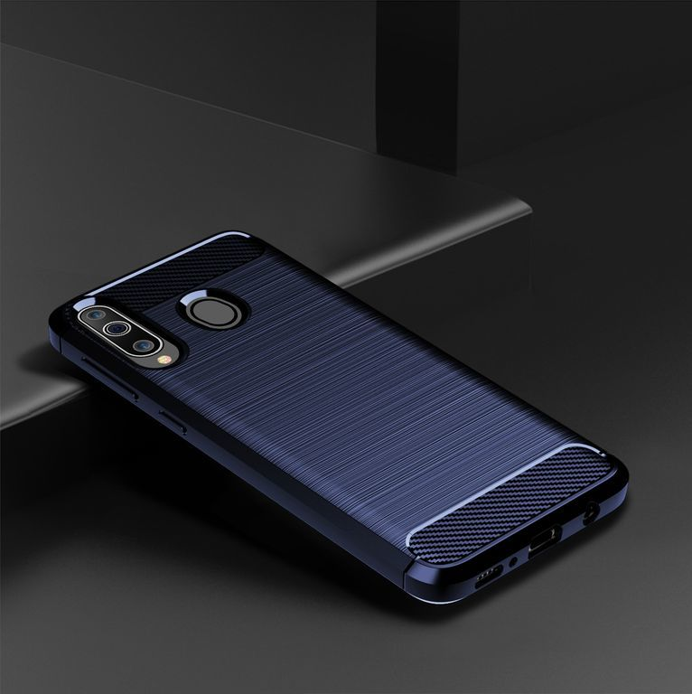 Чехол Samsung Galaxy A40S (Galaxy M30) цвет Blue (синий), серия Carbon, Caseport