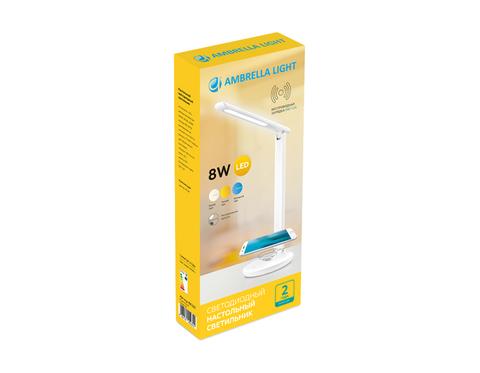 Светодиодная Настольная Лампа Ambrella DE520 WH 8W Белый с Беспроводой зарядкой